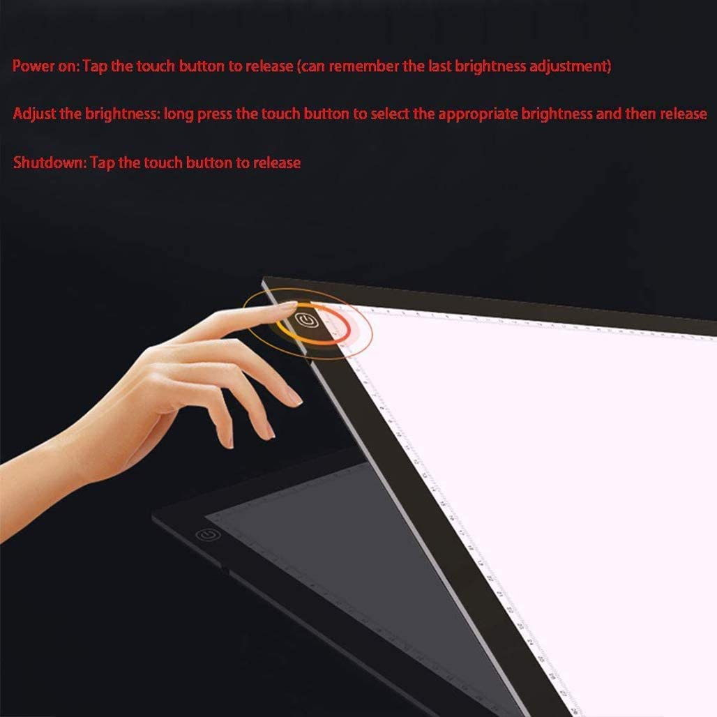 "JION Drawing of Ultra-Thin A2 Light Box, Energy-Saving LED Handicraft Tracer Light pad, dimmable no Strobe Light, Diamond Painting Artist, 22.3""x 15"" x 0.3"", Black"