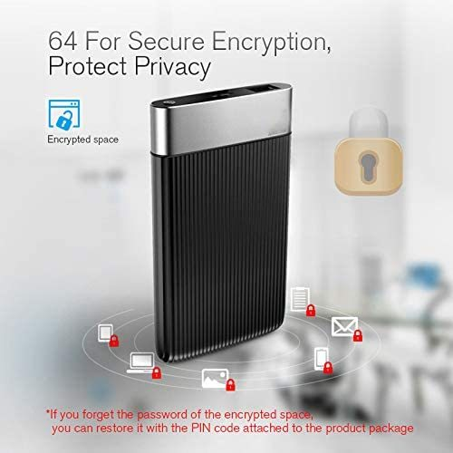 2.5Inch 1TB/2TB SATA USB3.0 Smart Mobile Hard Drives Security Encryption External HDD Network Cloud Disk for Computer,Black,2TB