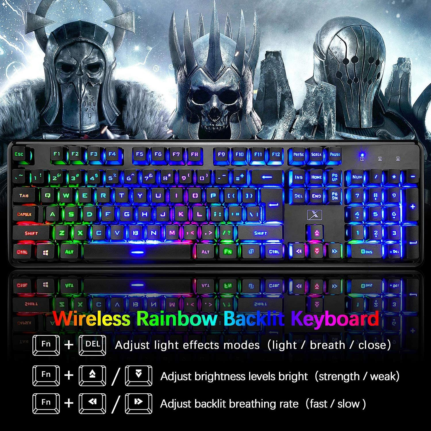 Keyboard and Mouse,Suspended Keycap Mechanical Feel Backlit Gaming Keyboard Mice Combo,Wireless 2.4G Drive Free,Adjustable Breathing Lamp,Anti-ghosting,4800 mAh Battery for Laptop Pc Mac