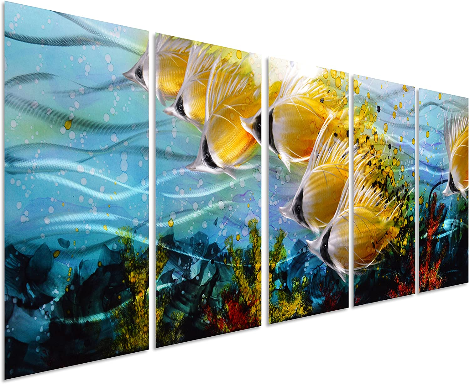 """Blue Tropical School of Fish Metal Wall Art, Large Metal Wall Art in Modern  Ocean Design, 3D Wall Art for Modern and Contemporary Décor, 5-Panels, 24""""x  64"""", Metal Wall Décor Works Indoors"""