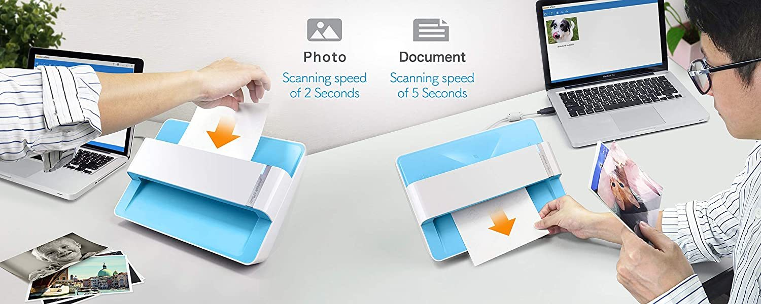 Photo Scanner - ephoto Z300, Scan 4x6 Photo in 2sec, Auto Crop and Deskew with CCD Sensor. Support Mac and PC