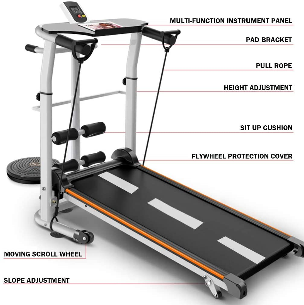 Mechanical Treadmill 4-in-1 Folding Shock Running Supine T-wisting Draw Rope Treadmills