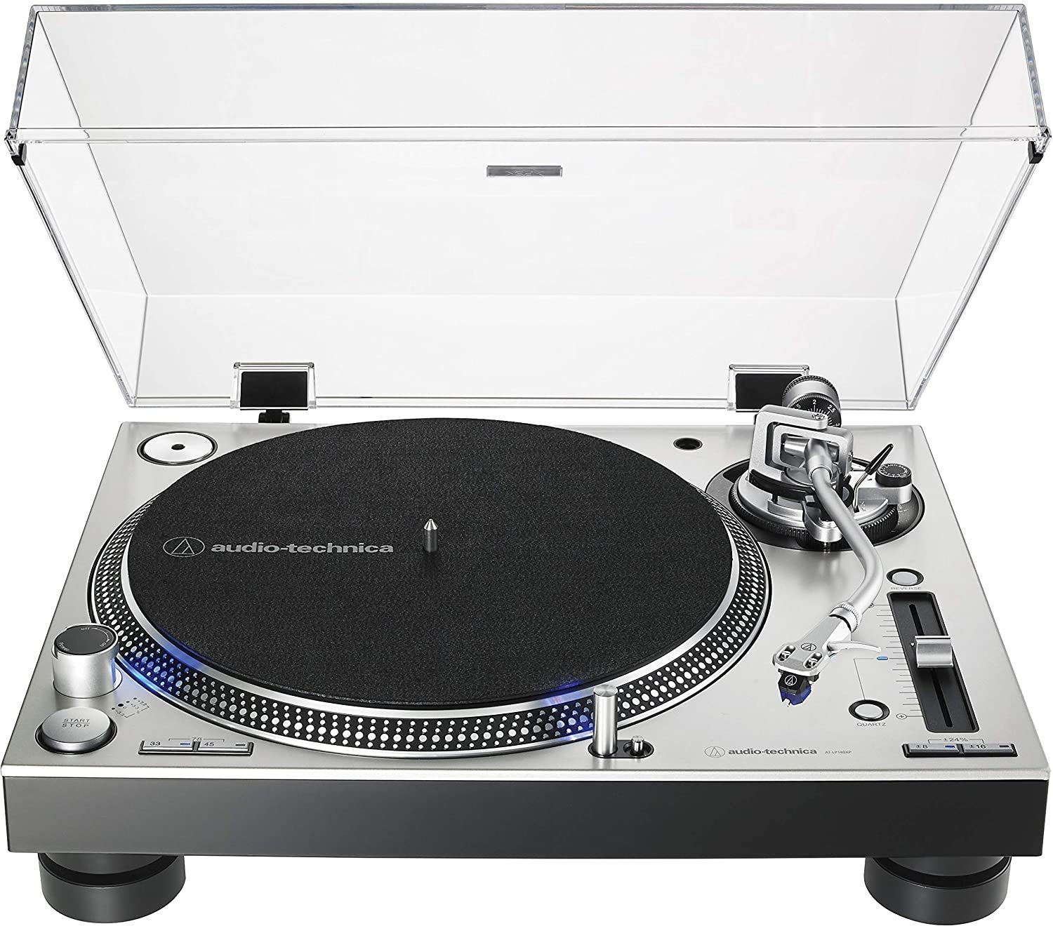 AT-LP140XP-BK Direct-Drive Professional DJ Turntable, Black, Hi-Fi, Fully Manual, 3 Speed, High Torque Motor