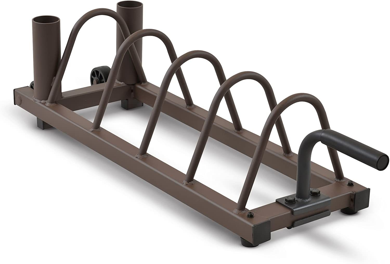 Horizontal Plate and Olympic Bar Rack Organizer with Steel Frame and Transport Wheels STB-0130