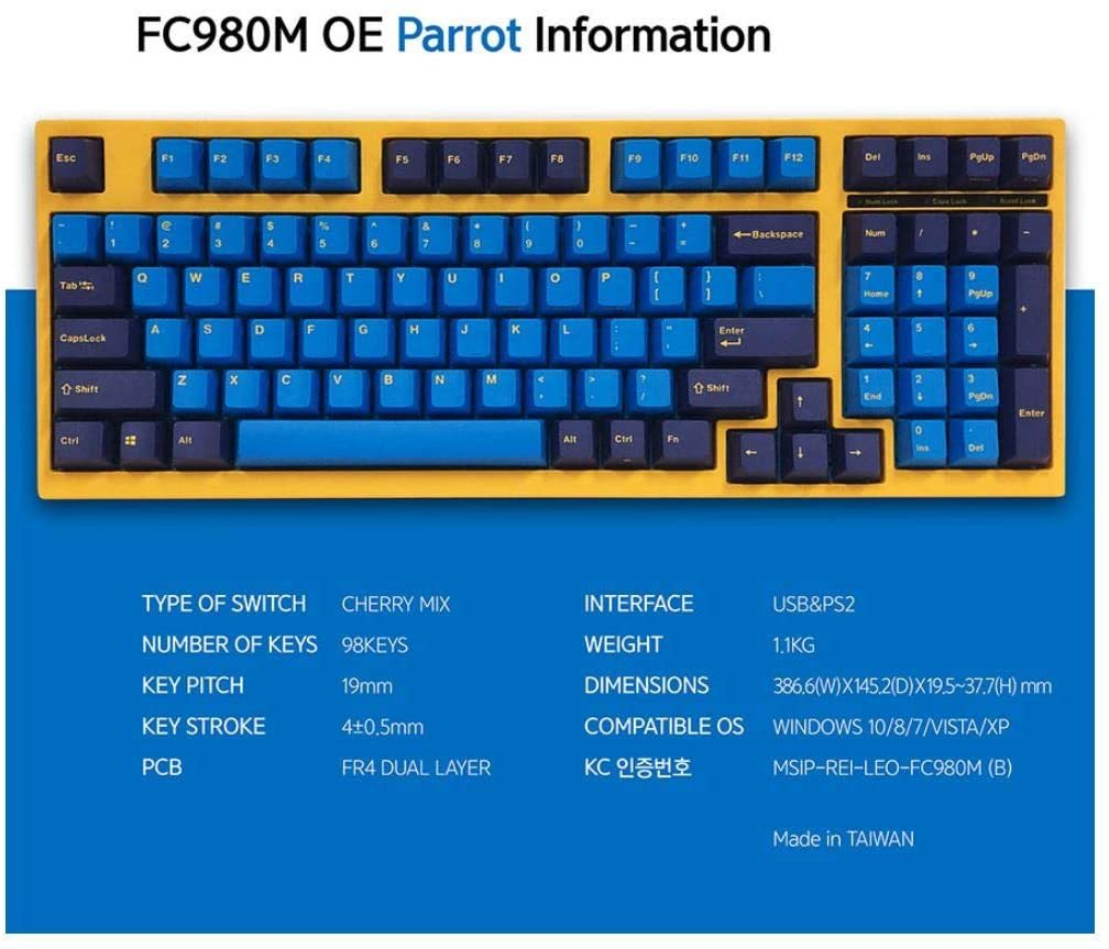 FC980M OE Parrot Keyboard 98Keys High-End Mechanical Keyboard (Brown)