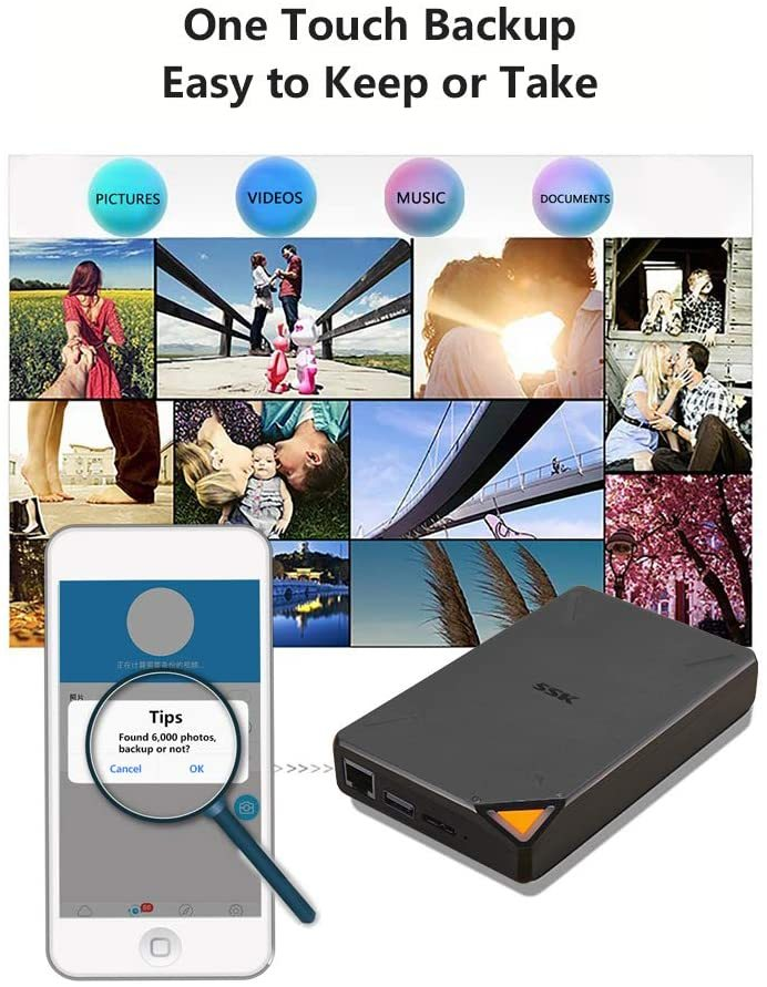 2TB Portable NAS External Wireless Hard Drive with Own Wi-Fi Hotspot, Personal Cloud Smart Storage Support Auto-Backup, Phone/Tablet PC/Laptop Wireless Remote Access