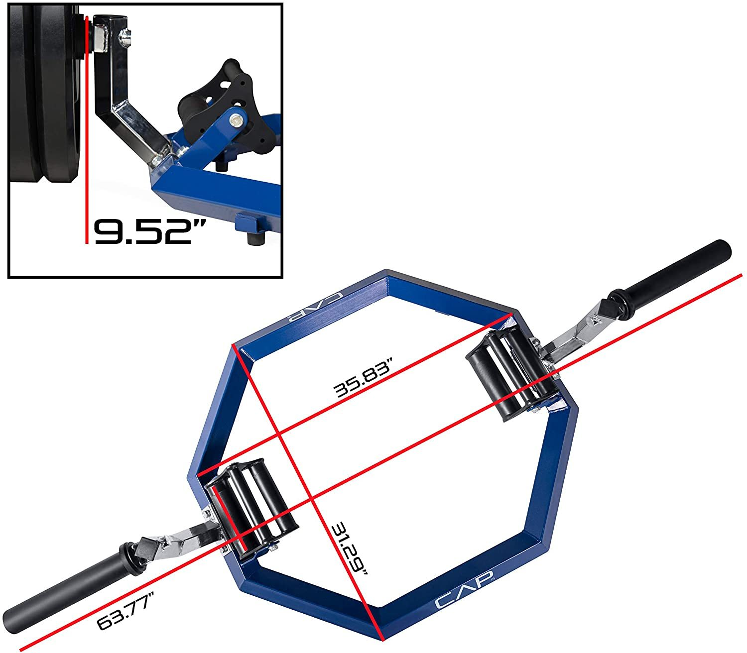 Olympic Super Trap Bar, Hex Bar, Shrug Bar, Deadlift Bar, Multiple Colors