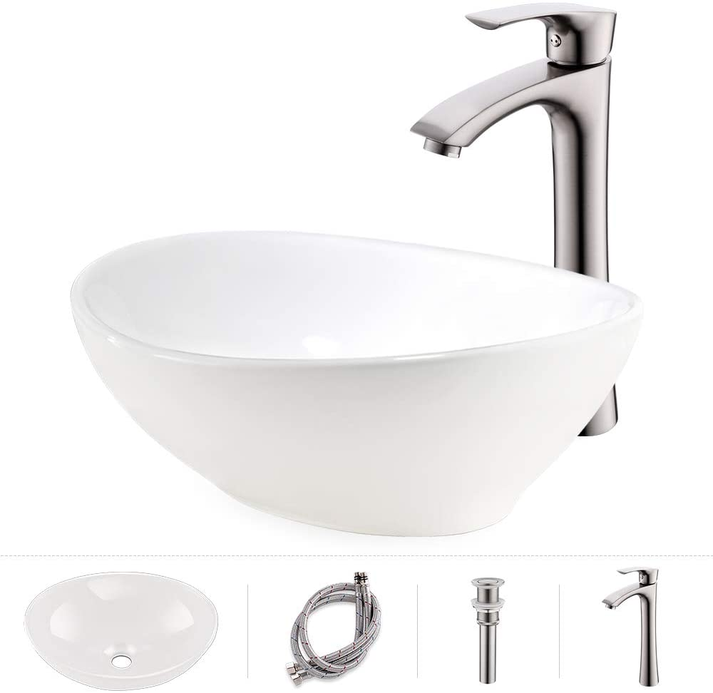 Bathroom Sink And Faucet Combo Oval Above Counter White Porcelain Ceramic Bathroom Vessel Sink Basin Washing