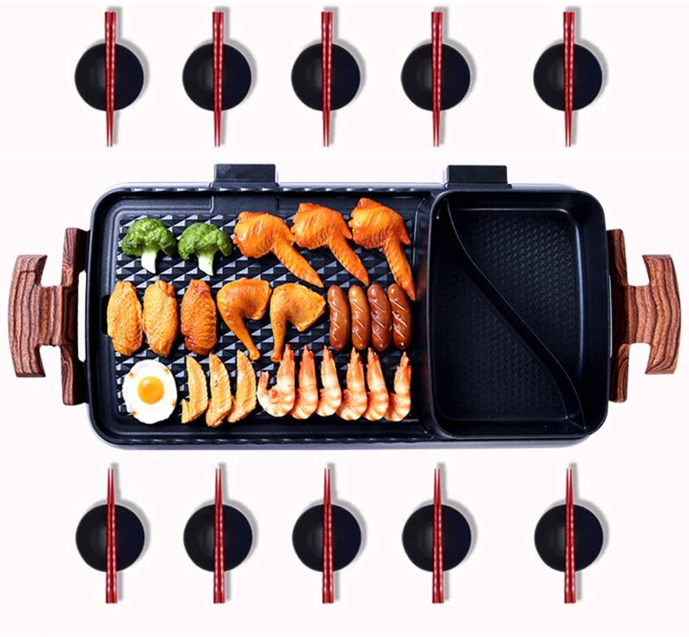 Electric Smokeless Indoor Large Bbq Griddle W Non Stick Cooking Hot Pot With Grill Portable Kitchen Grill Tastesutra Com