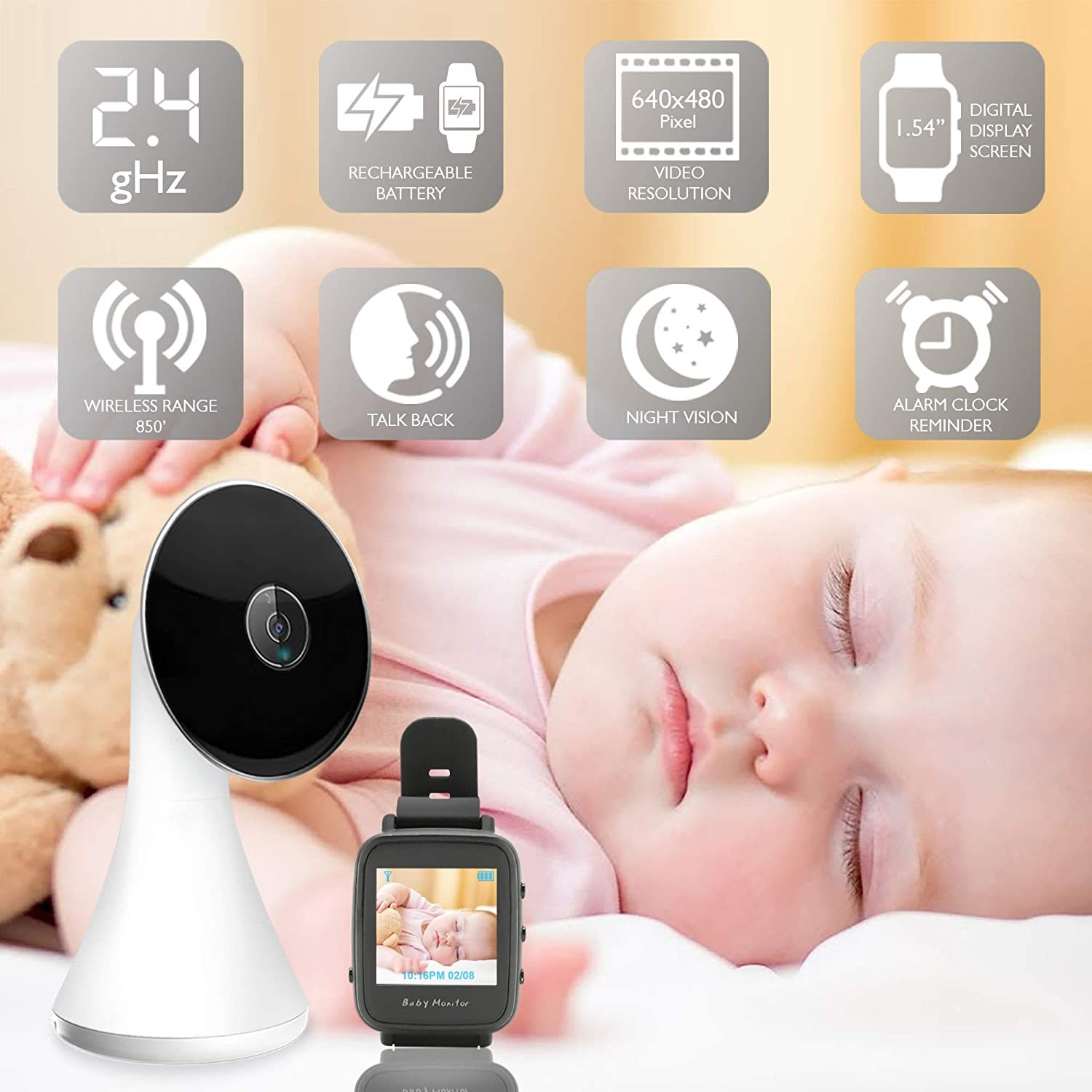 Wireless Baby Camera Monitor System - Long Range Two Way Audio Cam Baby Monitor w/ Smart Watch - Toddler/Infant/Child Cam Video Monitoring w/ Mic/Temperature Sensor/Night Vision - SereneLife SLBCAM550