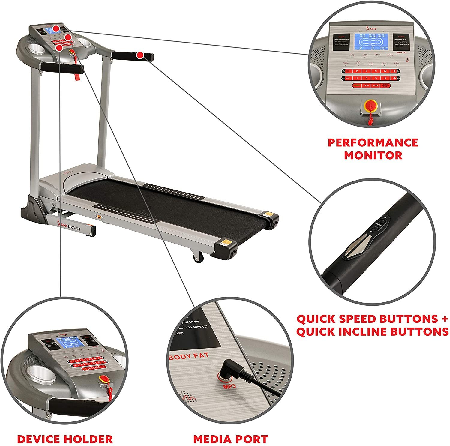 Electric Treadmill with 11 MPH Max Speed, LCD and Pulse Monitor,Auto Incline, 285 LB Max Weight, Speakers and Body Fat Function