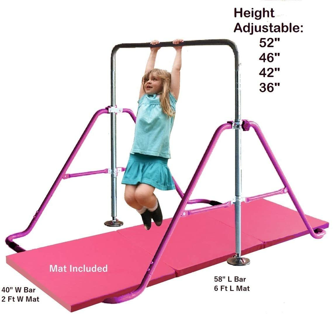 Monkey Bar Horizontal Bars Children Junior Training Play Height Adjustable Folding Balance Bar Pink with 6' x 2' Gymnastic Mat