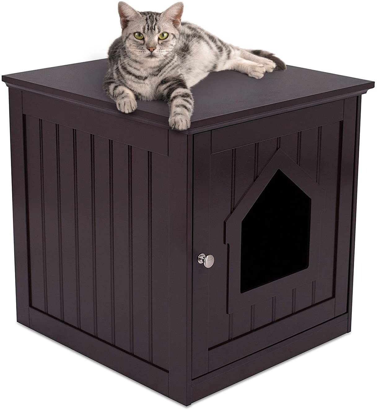 Decorative Cat House Side Table Cat Home Nightstand Indoor Pet Crate Litter Box Enclosure