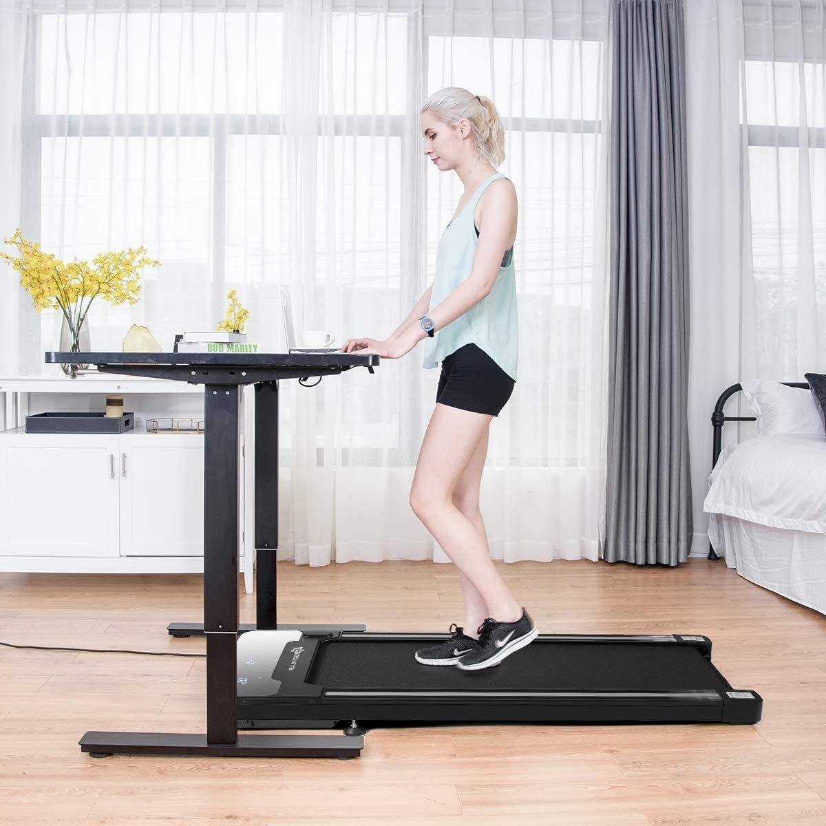 Under Desk Electric Treadmill, with Touchable LED Display and Wireless Remote Control, Built-in 3 Workout Modes and 12 Programs, Walking Jogging Machine for Home/Office