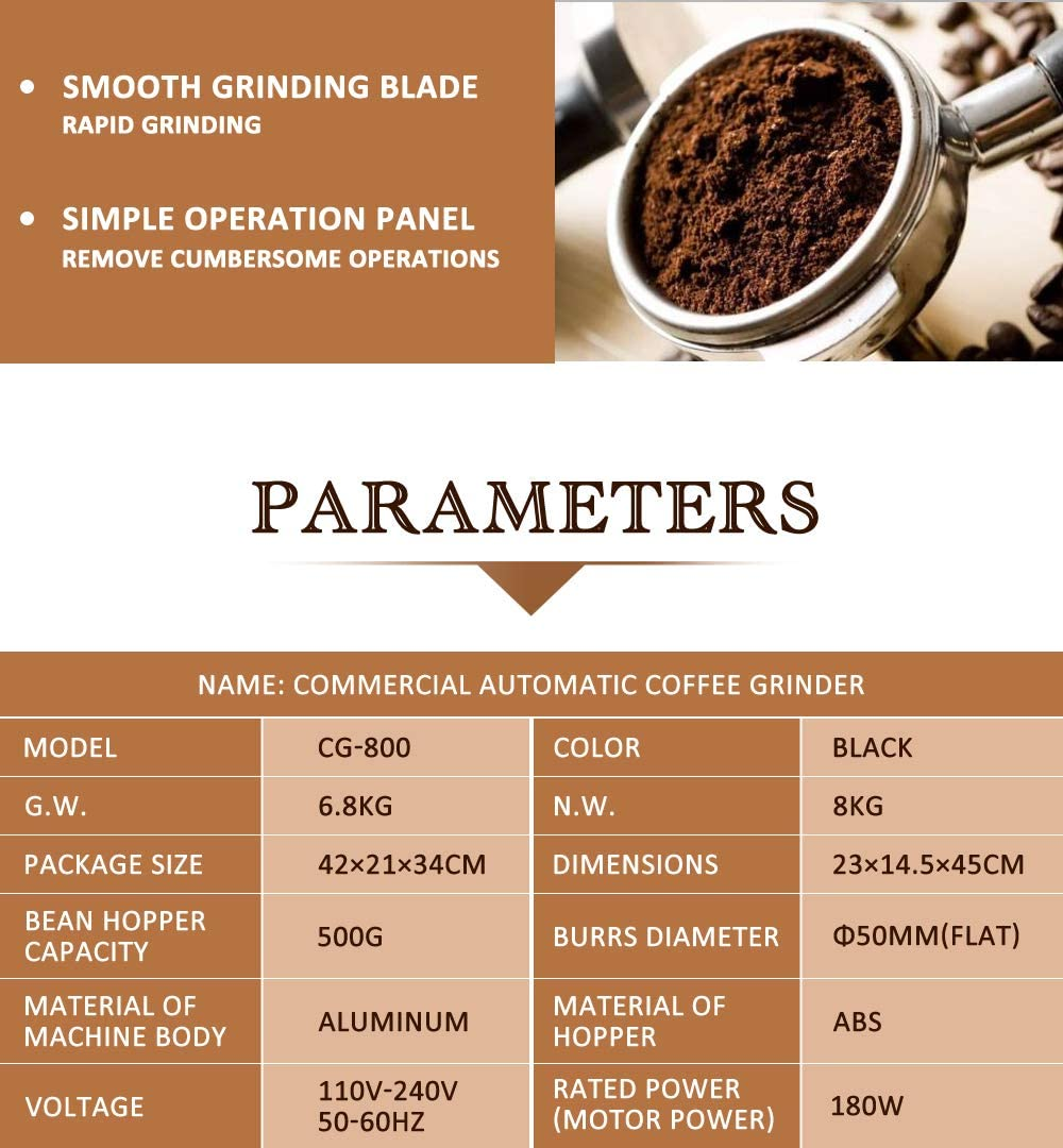 Details about  /180W Electric Automatic Coffee Grinder Commercial Household Red Two Mode 500g