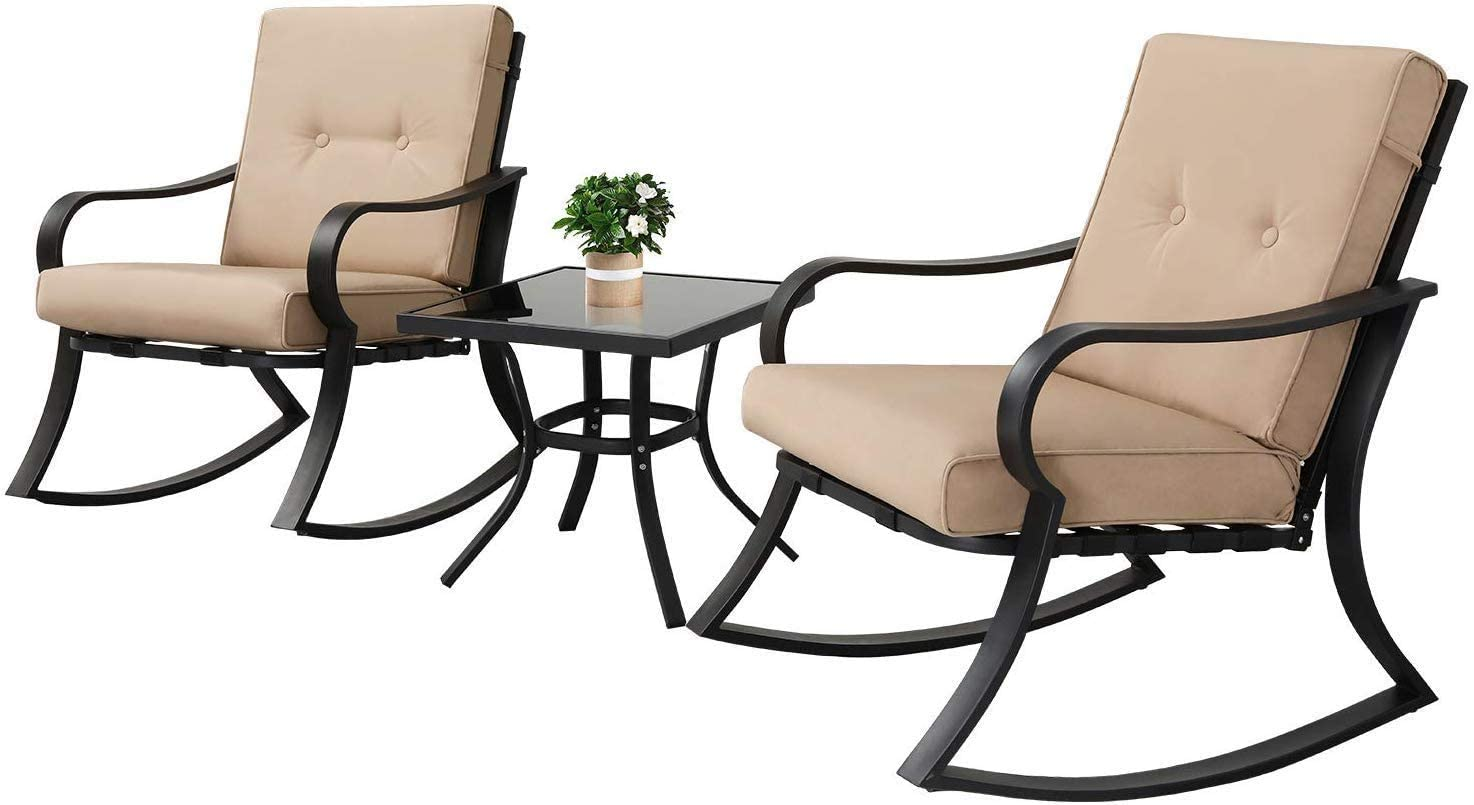 Outdoor Furniture 10 Piece Bistro Set Rocking Chairs and Glass Top ...