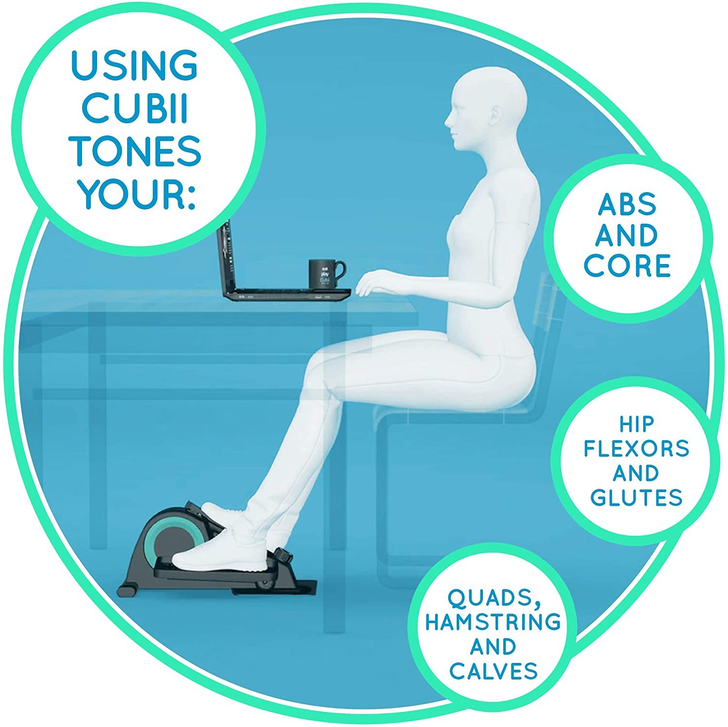 Jr. - Seated Under-Desk Elliptical - Get Fit While You Sit - Built-in Display Monitor - Whisper-Quiet - Adjustable Resistance - Easy to Assemble