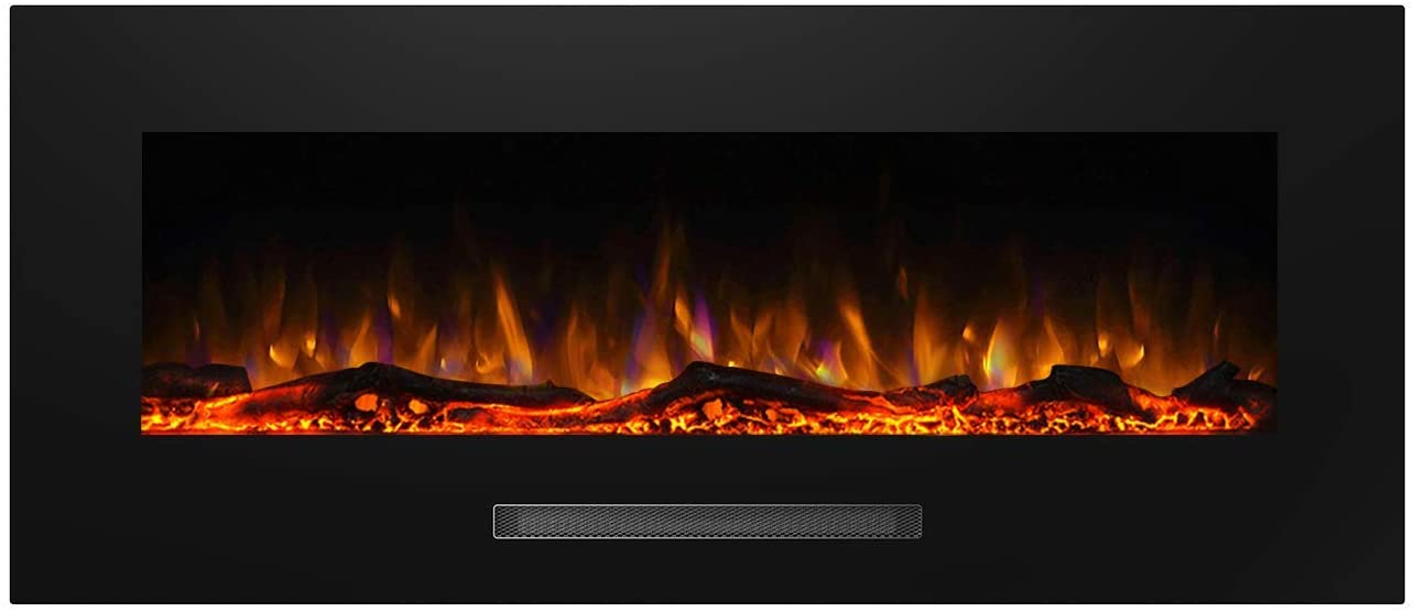 Color Backlight 5 Flame Settings Log, Fake Fireplace Heater Wall