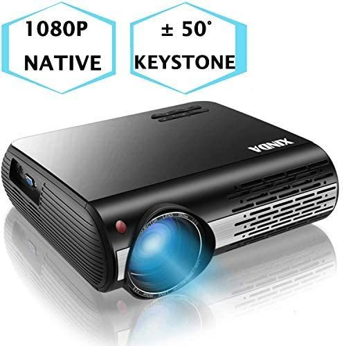 "1080P Projector,XINDA 6600 Lux Outdoor Projector with 327"" Display,3D Home Theater Projector with 6000 Hours lamp.Built in 5W Speaker,Compatible with Fire TV Stick,PS4,HDMI,VGA,TF,AV and USB"