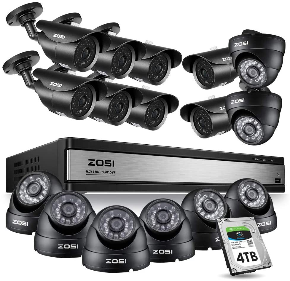 16CH 1080P Security Camera System Outdoor with 2TB Hard Drive 16Channel 1080P HD DVR Recorder with 12pcs 1920TVL 1080P Weatherproof CCTV Cameras,120ft Night Vision,Motion Alert,Remote Access