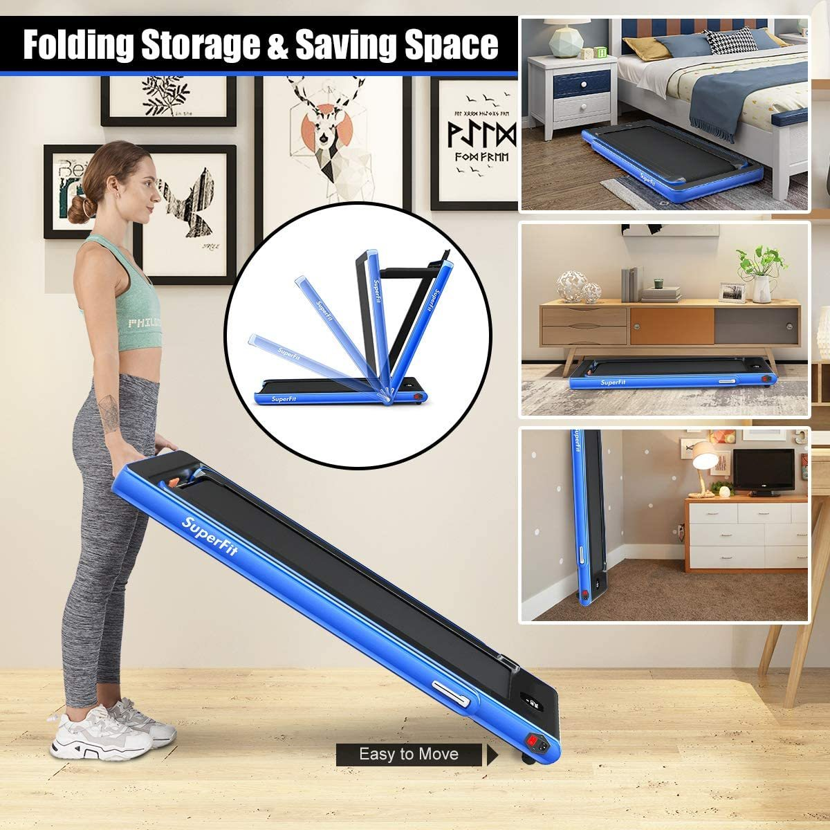 2 in 1 Folding Treadmill with Dual Display, 2.25HP Under Desk Electric Pad Treadmill, Installation-Free, Bluetooth Speaker, Remote Control, Walking Jogging Machine for Home/Office Use