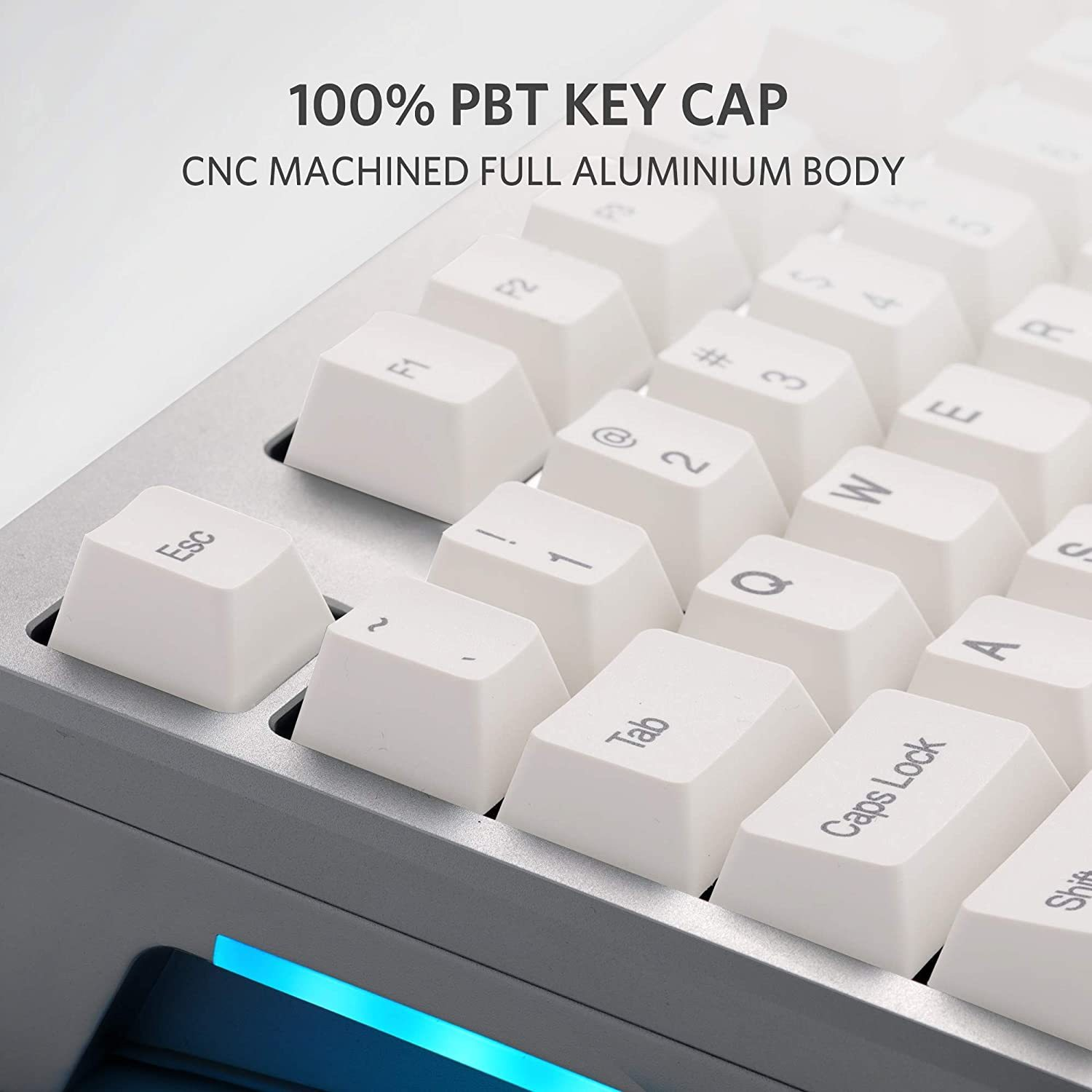 AR87 Mechanical Keyboard, CNC Full Aluminum Wired Gaming Keyboard with Cherry MX Brown Switches with Zipper Point, Dye Sublimated Keycaps, 100% Anti Ghosting, Side RGB LED Light, 6.8lbs