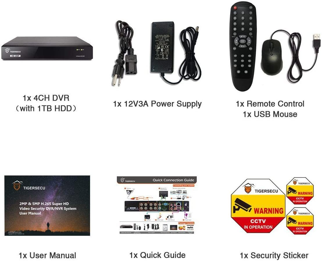 Super HD 1080P H.265+ 4-Channel Hybrid 5-in-1 DVR NVR Security Video Recorder with 1TB Hard Drive, Supports Analog and ONVIF IP Cameras (Cameras Not Included)