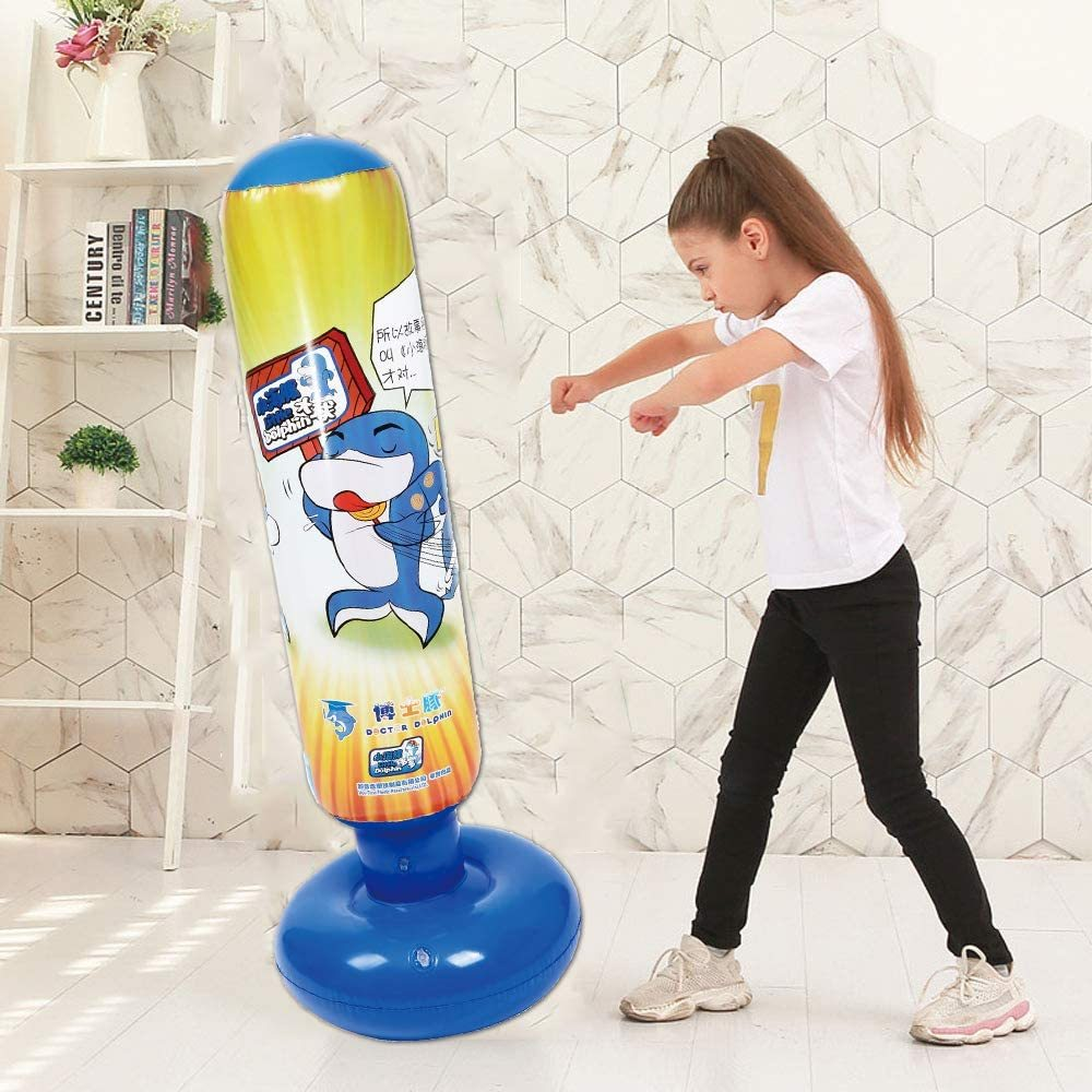 Taekwondo GEMGO Inflatable Kids Punching Bag Free Standing Boxing Bag for Immediate Bounce-Back for Practicing Karate