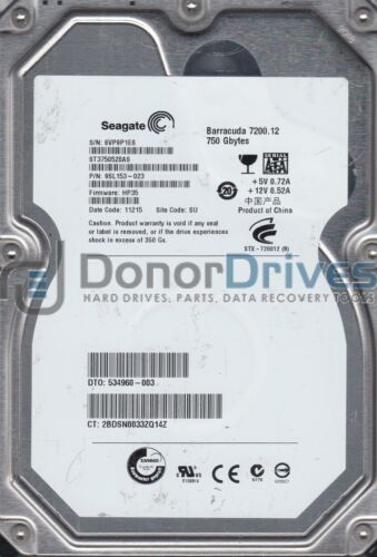 ST3750528AS, 6VP, SU, PN 9SL153-023, FW HP35, Seagate 750GB SATA 3.5 Hard Drive